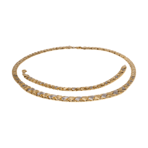 14K Two Tone Gold Bracelet and Necklace - ID A949 - ID A967