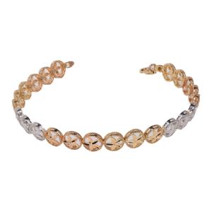 14k Three Tone Gold Design Bracelet - ID: A866