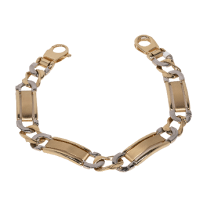 14k Two Tone Gold Chain Bracelet - ID A50