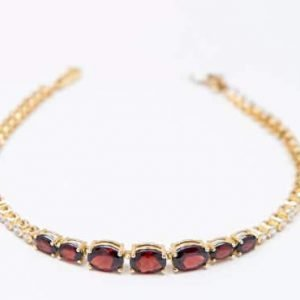 14k Yellow Gold and Garnet Stone Bracelet - ID: A707