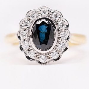 18k Two Tone Gold Sapphire and Diamond Ring - ID: P42