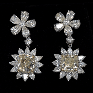 18k White Gold, 8.53 ct. Yellow and White Diamond Earrings
