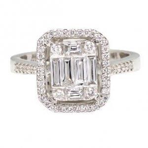 18k White Gold Diamond Engagement Ring - ID: P507