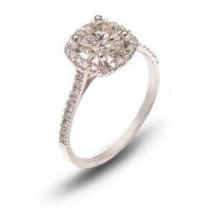 18k White Gold Diamond Halo Design Engagement Ring - ID: PUJT