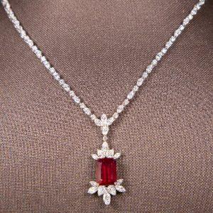 18k White Gold Diamond Necklace - ID: P169