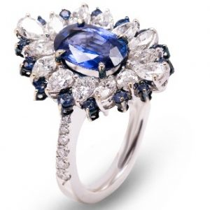 18k White Gold Sapphire and Diamond Ring - ID: P209