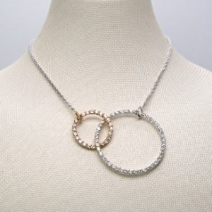 18k White and Yellow Gold Diamond Necklace - ID P56