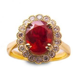 18k Yellow Gold Ruby and Diamond Ring - ID: P3