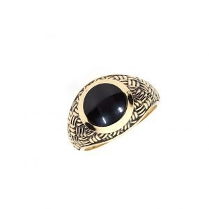 14K Black Onix Gold Ring - ID: A319