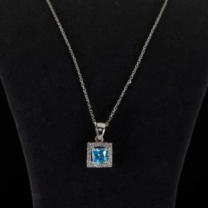 14k White Gold Cz. and Blue Topaz Necklace ID A1298-A1364