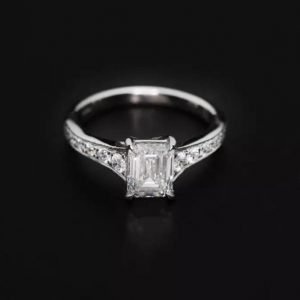 18k White Gold Emerald Cut and Diamond Engagement Ring - ID: P723