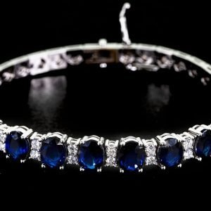 18k White Gold Sapphire and Dimond Tennis Bracelet - ID P48