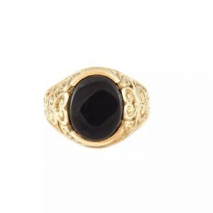 9K Black Onix Signet Ring - ID: A139
