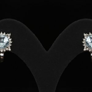 14k White Gold Cz. and Aquamarine Earrings - ID: A637