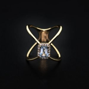 18k Rose Gold Diamond and Aquamarine Ring - ID: P661