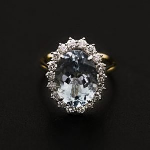 18k Two tone Cluster setting Gold Diamond and Aquamarine Ring - ID: P645