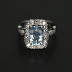 18k White Gold Diamond and Aquamarine Ring - ID: P179