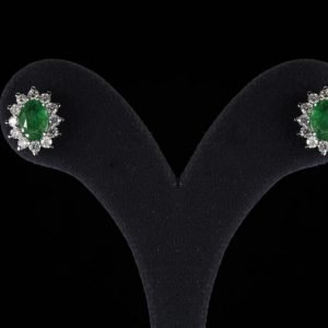 18k White Gold Diamond and Emerald Earrings - ID: P681