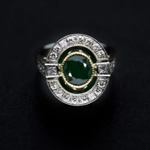 18k White Gold Diamond and Emerald Ring - ID: P615