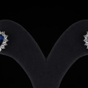 18k White Gold Diamond and Sapphire Earrings - ID: P490