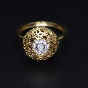 18k Yellow Gold and Diamond Ring - ID: P557