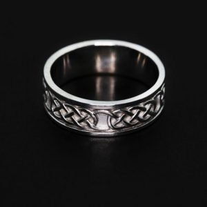 9k White Gold Celtic Design Wedding Ring - ID: A1370