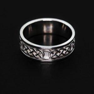 9k White Gold Celtic Design Wedding Ring - ID: A1370