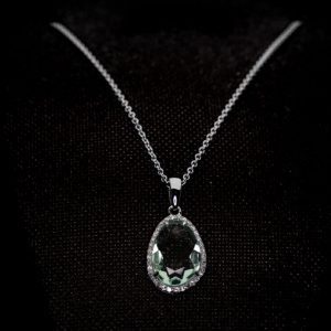 9k White Gold Cz. and Green Amethyst Necklace - ID: A1150