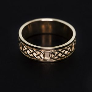 9k Yellow Gold Celtic Design Wedding Band - ID: A1175